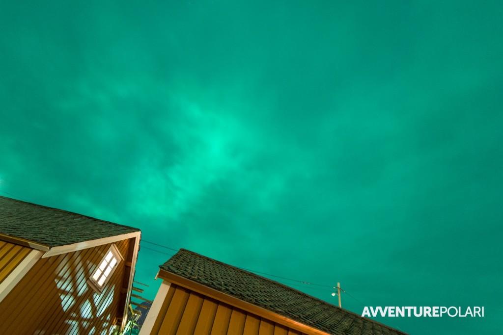 Questa invece è la classica aurora boreale con cielo completamente coperto o velato. Il risultato è un bagliore verde diffuso su tutto il cielo. Il verde piu' intenso si vedrà solo nelle porzioni di cielo con nuvole meno fitte